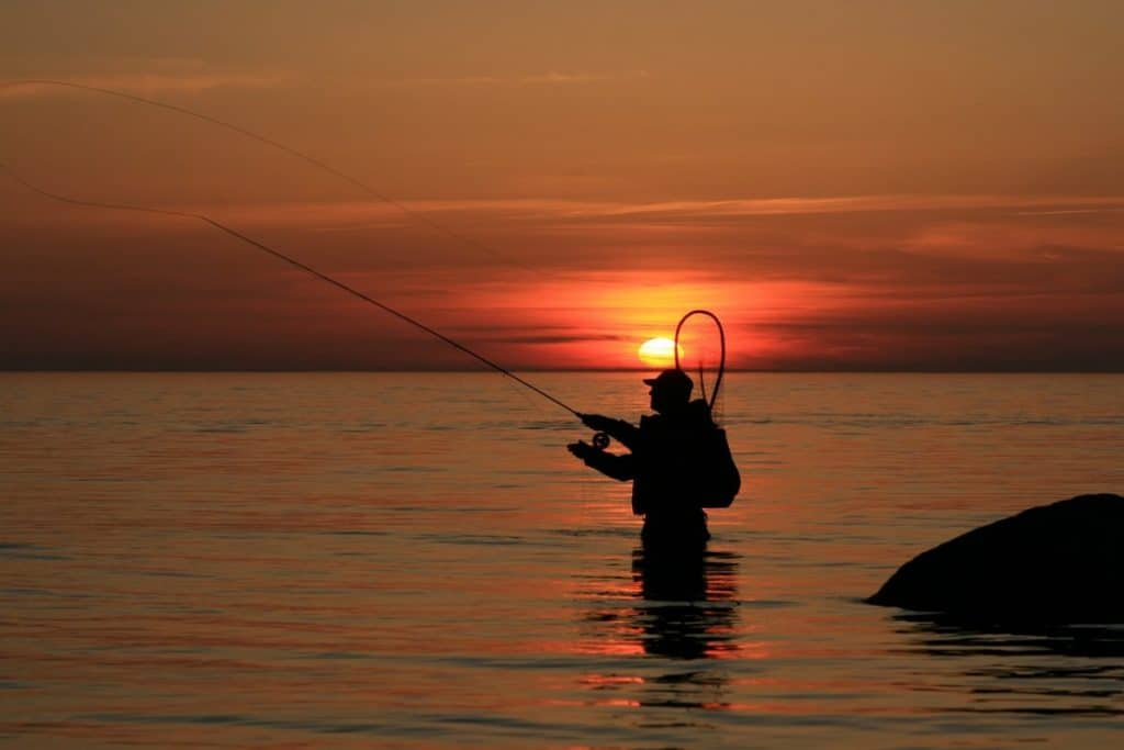 fly fishing shore at sunset