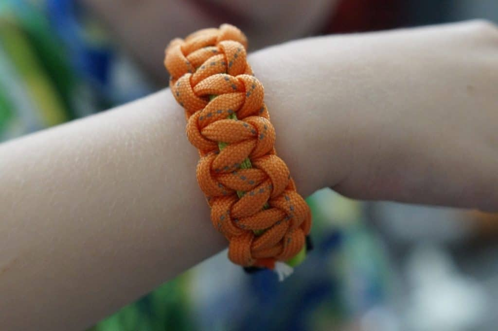 paracord bracelet on arm