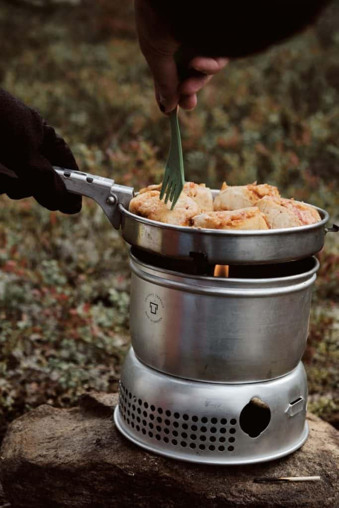 cooking chicken on camp stove