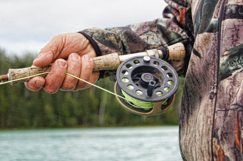 fly fishing reel up close